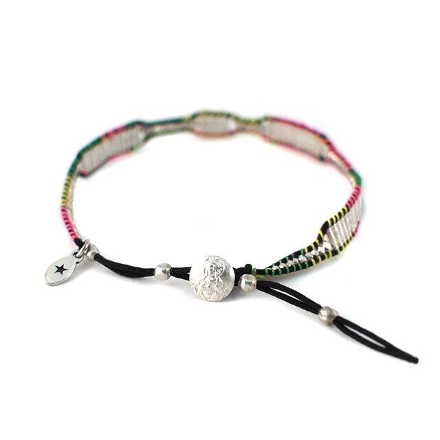 【海外訂購】【amp japan】銀珠塊混色棉繩編織單圈手環(AMP-14AH-450  0783000000) 2