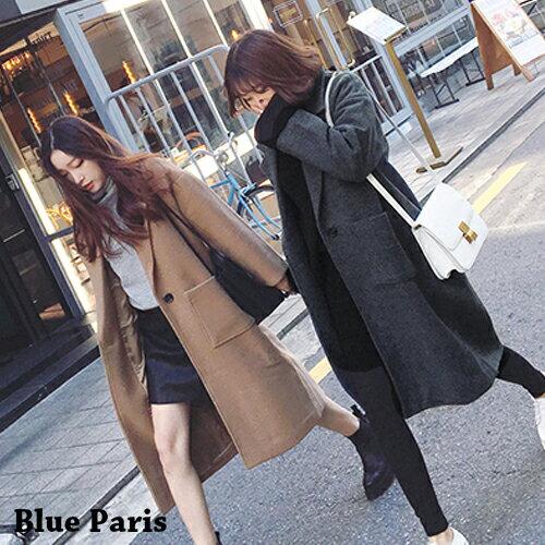 外套 - 純色翻領長版毛呢大衣外套【29197】藍色巴黎 《2色》現貨 + 預購 0