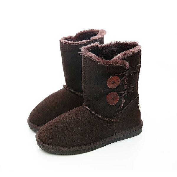 2MUCH短筒真牛皮雪靴-深棕色(37-40)