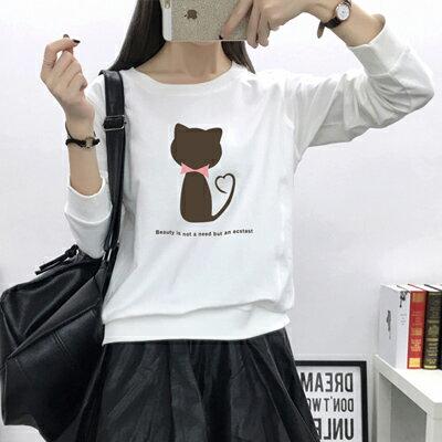 ◆快速出貨◆刷毛T恤 圓領刷毛 情侶T恤 暖暖刷毛 MIT台灣製.圓領-灰貓 剪影【YS0098】可單買.艾咪E舖 2