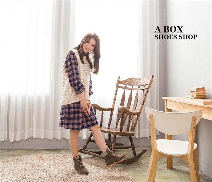 格子舖*【KDLF2107】基本款經典流行 質感麂皮拼接格紋 繫帶個性百搭短筒靴 短靴 工作靴 3色 1
