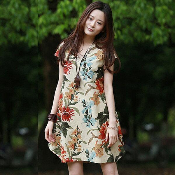 洋裝  v領花朵印花棉麻連身裙 衣服日系 預購【76-16-89632】ibella 艾貝拉