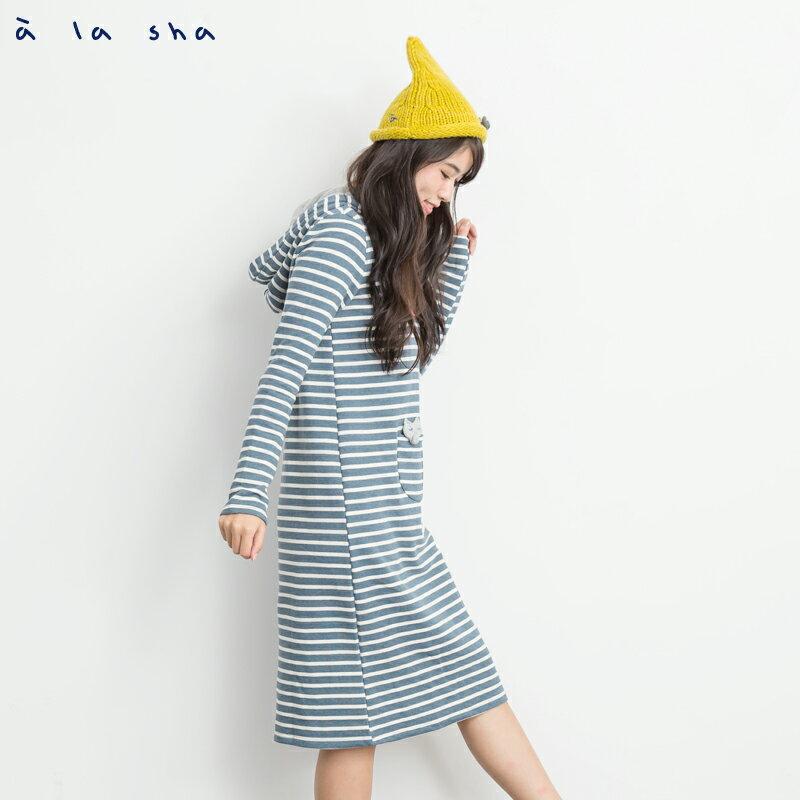 a la sha Qummi 條紋連帽狐狸長版上衣 0
