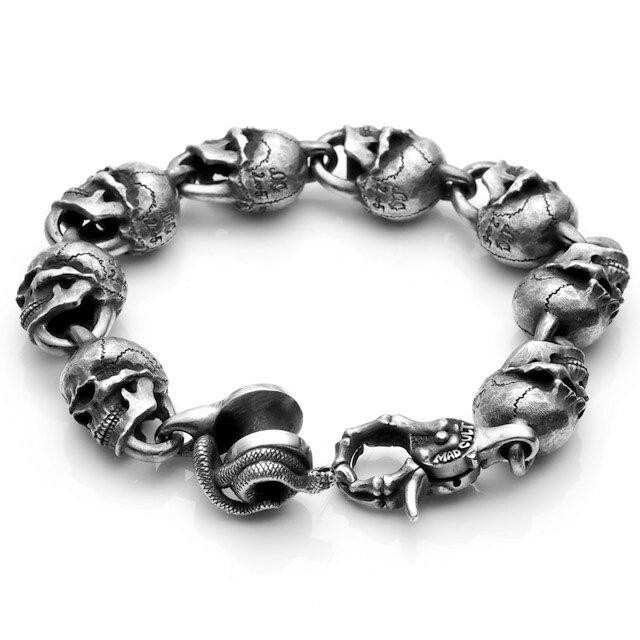 【海外訂購】【MAD CULT】經典仿舊骷髏純銀手環 M (MAD-B-06-M  0647220000) 1