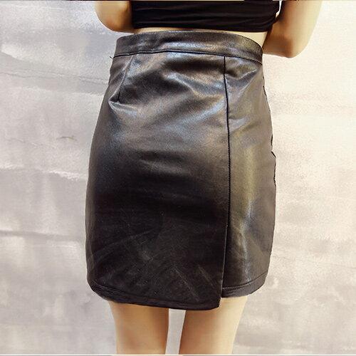 裙子 - 韓版下擺小側開皮裙【23306】藍色巴黎 - 現貨+預購 1