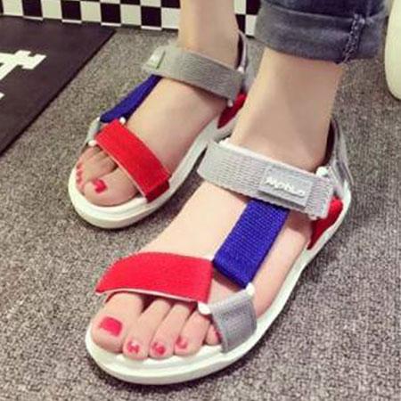 涼鞋 時尚率性三角環魔鬼氈平底涼鞋【S1650】☆雙兒網☆ 2
