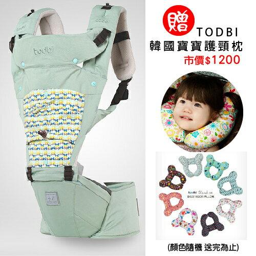 【限量贈市價$1200護頸枕】【安琪兒】韓國【Todbi】新一代有機棉氣囊坐墊式背巾(淺綠) 0