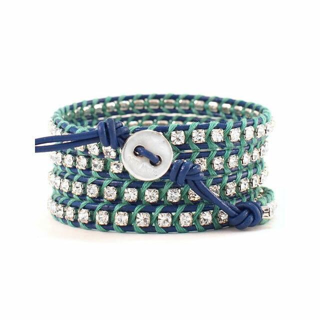 【現貨商品】【CHAN LUU】水鑽寶石寶藍色x螢光綠皮繩手環/5圈(CL-BSZ-3305Cry  Royal Blue / Mint Leaf  06239700KK) 1