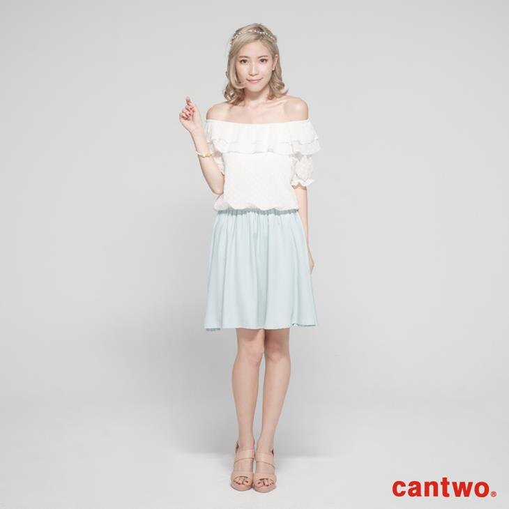 cantwo粉彩荷葉雪紡洋裝(共二色) 0