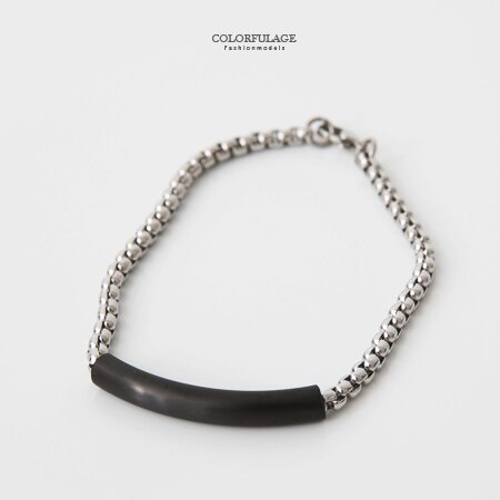 手環 雙色鍊條式白鋼手鍊 滑動式層次感 素雅個性 中性款式時尚注目 柒彩年代【NA363】精緻禮物 0