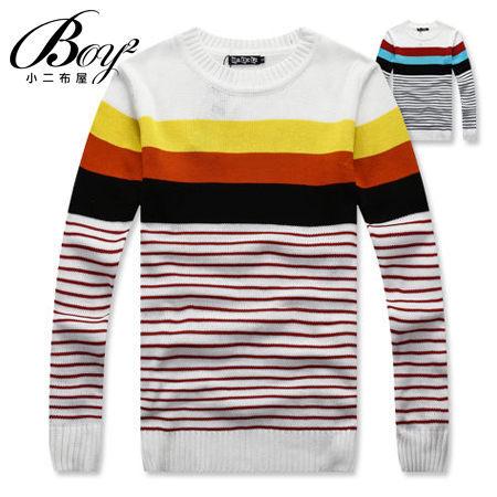 ☆BOY-2☆【OE86025】多色條紋拼接針織毛衣 0