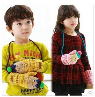 嬰兒手套 娃娃臉羊羔絨無指掛脖手套 BU12703