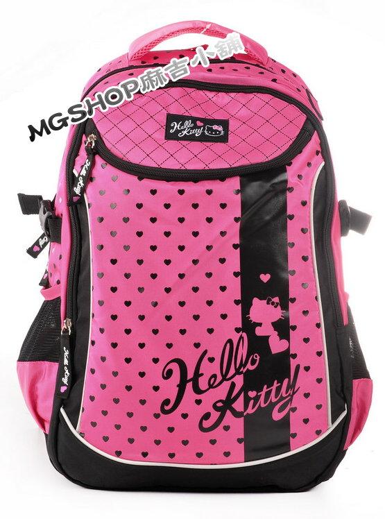 正版 Hello Kitty 凱蒂貓 中小學生書包 休閒後背包620280-桃紅黑愛心款