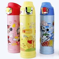 小熊維尼周邊商品推薦新款Disney 迪士尼 直飲不鏽鋼真空保溫水壺/保溫壺送杯套500ML(5721米妮/公主/米奇/維尼)單售