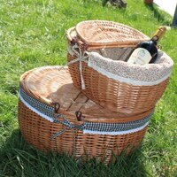 野餐籃打造貴婦風格日式雜貨 露營野餐籃 帶蓋儲物 收納籃 旅行收納-圓型(大)內襯布隨機出貨