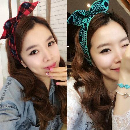 韓國進口飾品髮飾 布藝愛心豹紋千鳥格子花朵兔耳朵鐵絲髮帶