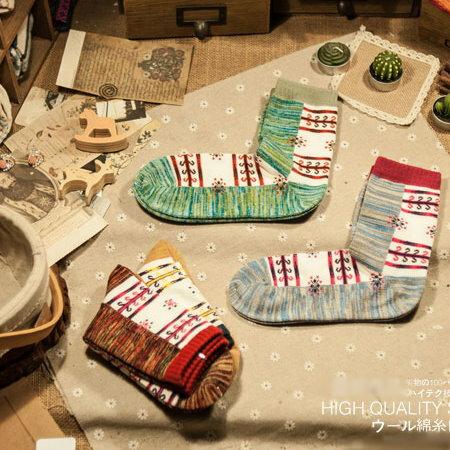 日韓系 復古民族拼色小碎花女長襪子 保暖襪 ~  好康折扣