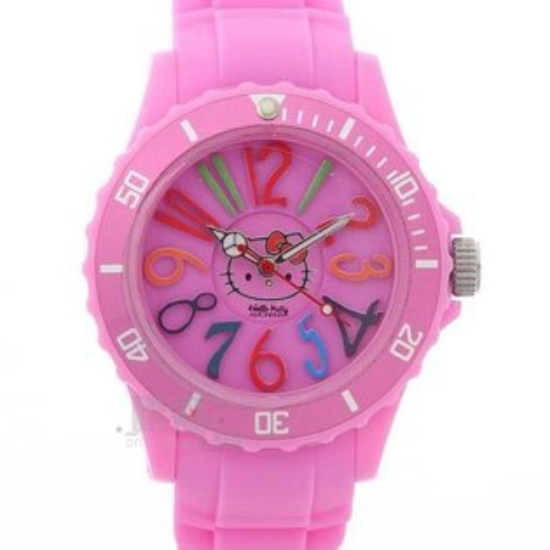 【唯愛日本】13042400051 運動矽膠錶-彩色數字桃 三麗鷗 Kitty& AMONNLISA聯名款 時尚錶