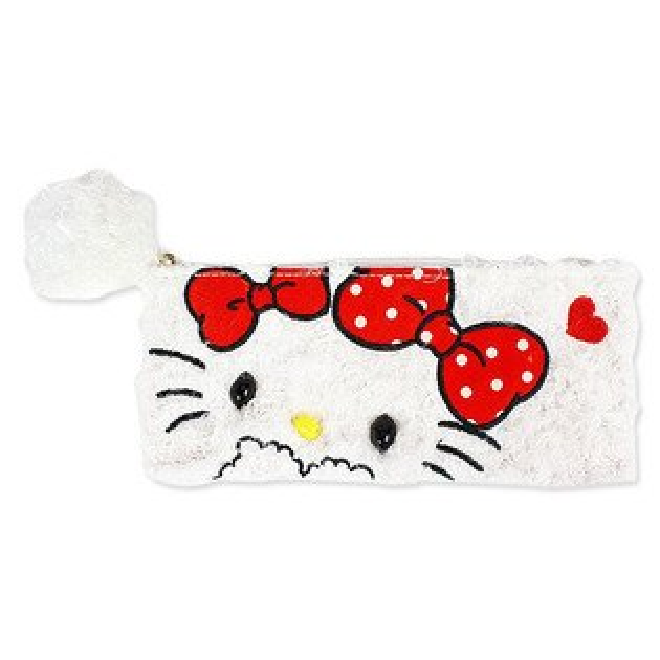 【唯愛日本】14111900015 絨毛拉鍊筆袋-KT雙緞帶白 三麗鷗 Hello Kitty 凱蒂貓 鉛筆盒 文具用品