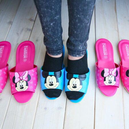 ~真愛 ~15030300008 MK皮拖~藍24~27 迪士尼 米老鼠米奇 米妮 居家鞋