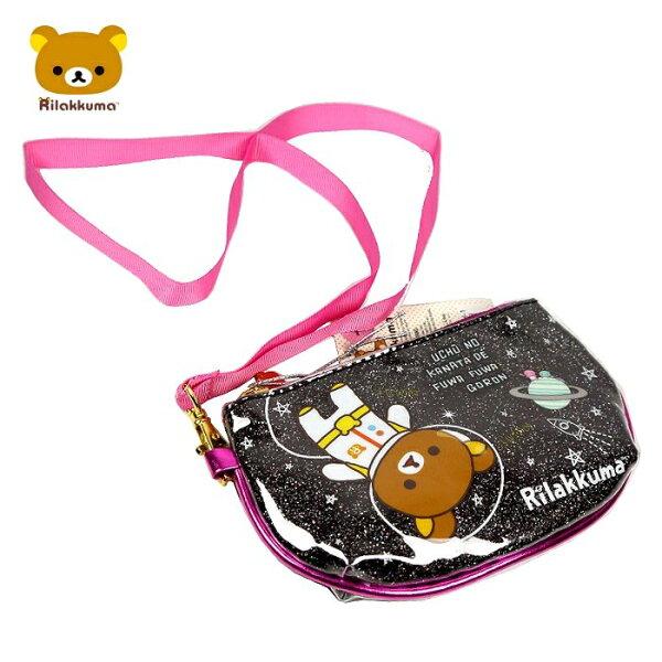 【真愛日本】15042300016 D型拉鍊包-懶熊太空黑 SAN-X 懶熊 奶妹 奶熊 收納包 化妝包 側背包 正品 限量