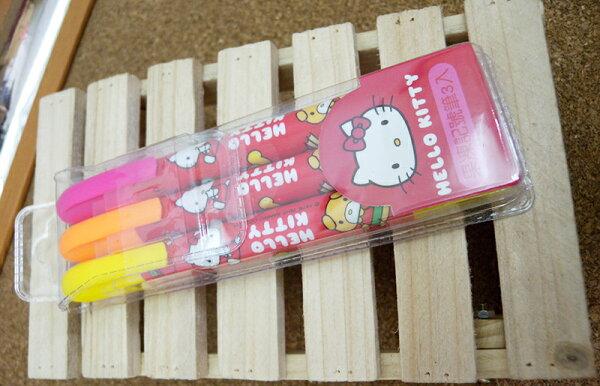 【真愛日本】15053000001果凍記號筆3入-蘋果紅 三麗鷗 Hello Kitty 凱蒂貓 文具 螢光筆 正品 限量