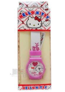 【唯愛日本】13061700004 手錶-大頭紅結愛心粉 三麗鷗 Hello Kitty 凱蒂貓 兒童錶 馬卡龍錶 正品