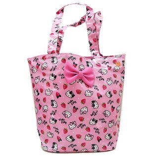 【唯愛日本】13062000010 防水肩背包-草莓季 三麗鷗 Hello Kitty 凱蒂貓 手提袋 海灘包