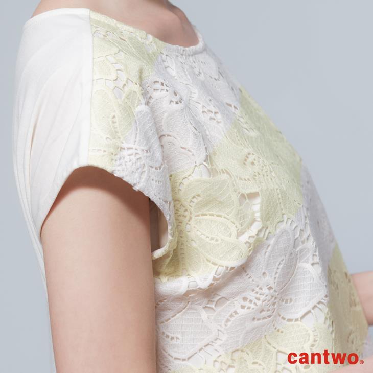 cantwo鏤空雙色條紋蕾絲上衣(共三色) 4