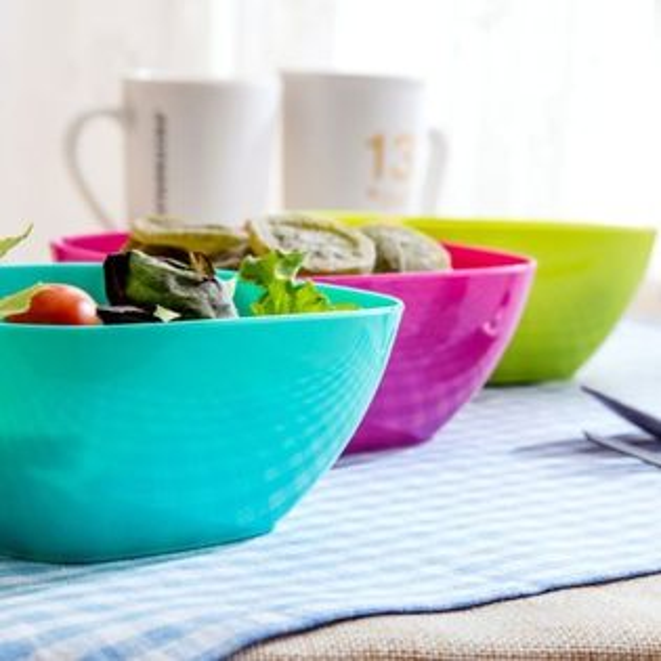 PS Mall 居家家食品級塑膠方形果盤沙拉碗【J1908】