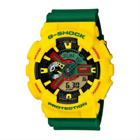 CASIO G-SHOCK GA-110RF-9A潮流黃蜂時尚腕錶/黃+綠面55mm