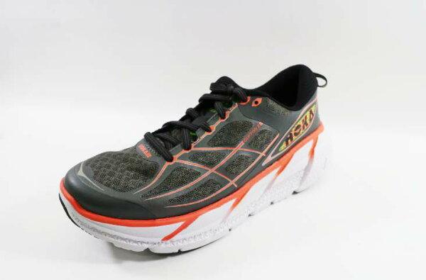 [陽光樂活]HOKA ONE ONE-CLIFTON 2(女)超緩震 動能 輕量 訓練 競速 路跑鞋-HO1008329GNCR灰/螢光珊瑚紅