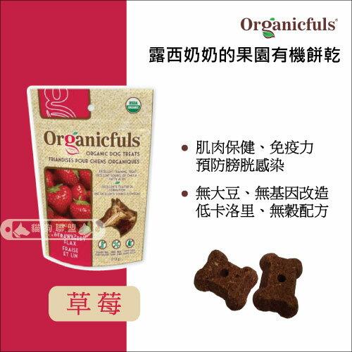 +貓狗樂園+ 露西奶奶的果園有機餅乾Organicfuls【有機草莓亞麻籽。4oz】220元 0