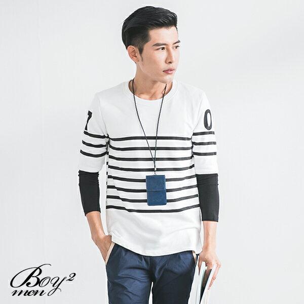 ☆BOY-2☆【NR91012】韓版假兩件條紋長T恤 3