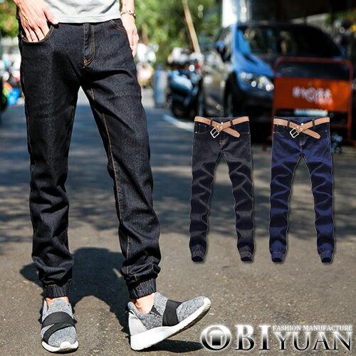 Jogger彈性牛仔褲【F55576】OBI YUAN韓版原色單寧束口休閒褲 共2色