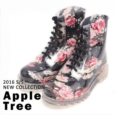 AppleTree日韓~黑色碎花馬丁雨鞋 低跟雨靴~S403015~ ~  好康折扣