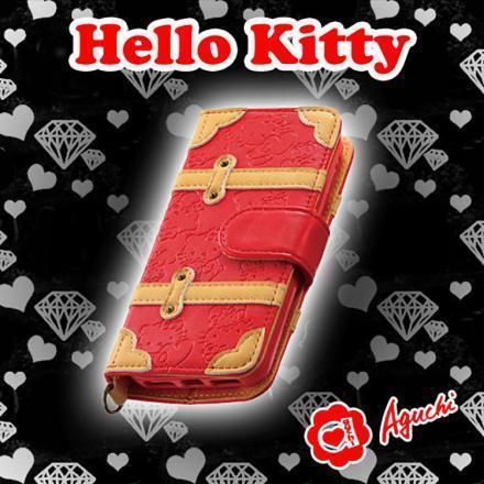 ☆ Hello Kitty ☆ iPhone 5/5S/SE 凱蒂貓紅色皮革壓紋行李箱手帳型手機皮套