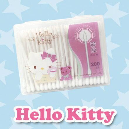 ☆Hello Kitty☆ 凱蒂貓彩妝棉花棒200支(盒裝) 一邊圓頭一邊尖頭多用途