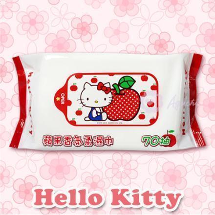☆Hello Kitty☆凱蒂貓 蘋果香氛柔濕巾/濕紙巾 70抽【亞古奇 Aguchi】