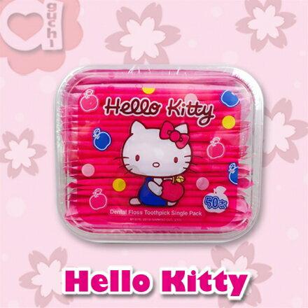 ☆ Hello Kitty ☆ 凱蒂貓 單支攜帶型牙線棒 (50入)【亞古奇 Aguchi】 - 限時優惠好康折扣