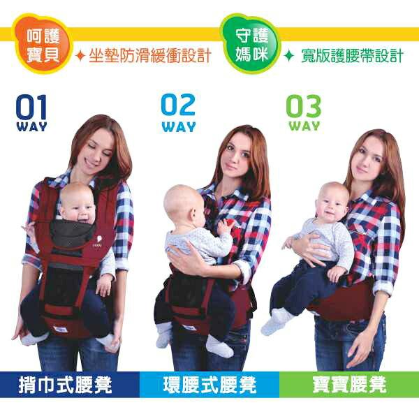 『121婦嬰用品館』PUKU 多功能腰凳揹巾 - 紅 4