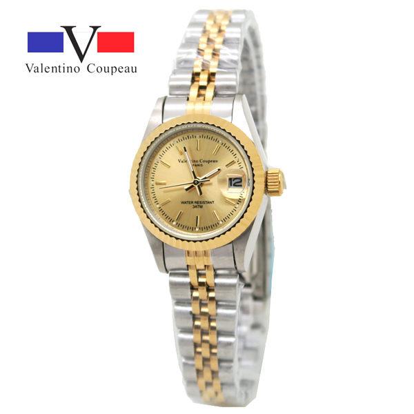 《好時光》Valentino Coupeau 范倫鐵諾 中金色 金面 線條刻度 日期窗 不鏽鋼時尚男錶/女錶