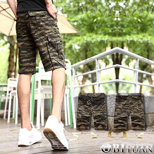 有加大尺碼短褲【T88865-1】OBI YUAN韓版虎紋迷彩側面大口袋休閒工作褲