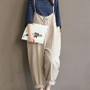 美麗大街【IR3300】學院風甜美純色寬鬆棉麻吊帶七分褲女連身褲