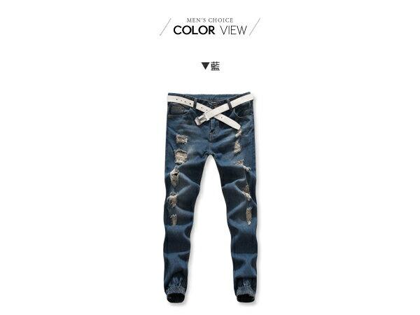 ☆BOY-2☆【NQ95035】 韓版休閒破壞牛仔縮口褲 1