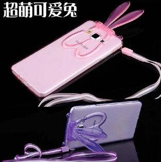 三星Galaxy J7 新款透明兔耳朵支架手機殼 Samsung J7008 掛繩兔子矽膠保護套
