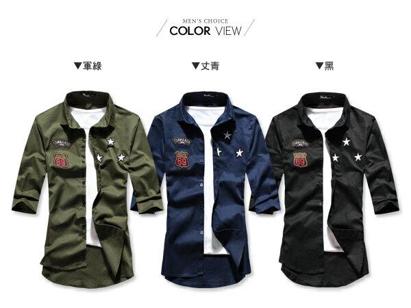 ☆BOY-2☆ 【PPK87015】美式潮流星星電繡七分袖襯衫 2