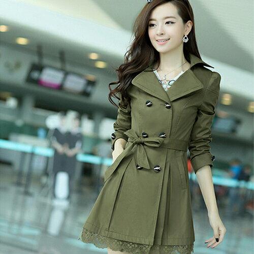 洋裝外套 - 修身雙排扣翻領蕾絲風衣外套【29029】藍色巴黎《4色》現貨+預購 2