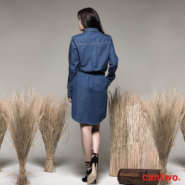 cantwo丹寧襯衫式長袖洋裝(共一色) 3