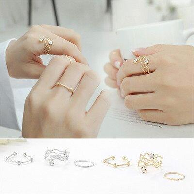 PS Mall  雙鑽波浪紋 金屬三件套戒指指環~G2137~ ~  好康折扣